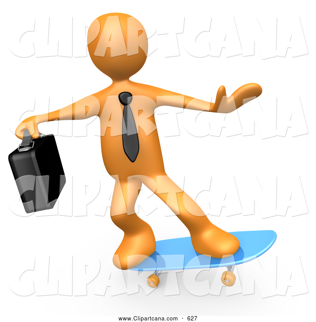 1024x1044 Clip Art of a Cool Orange Businessman Person with a Briefcase