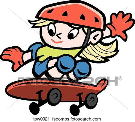 450x409 Clipart of little girl skateboarding tow0021