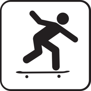 300x300 Skateboard Black And White Clipart
