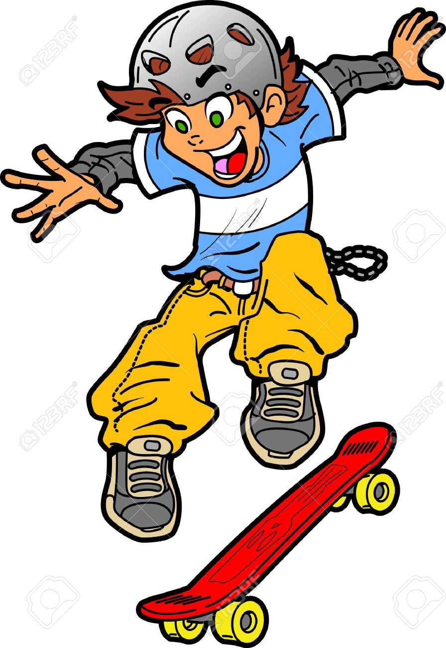 896x1300 Cool Fun Skateboarder Doing An Extreme Trick Royalty Free Cliparts