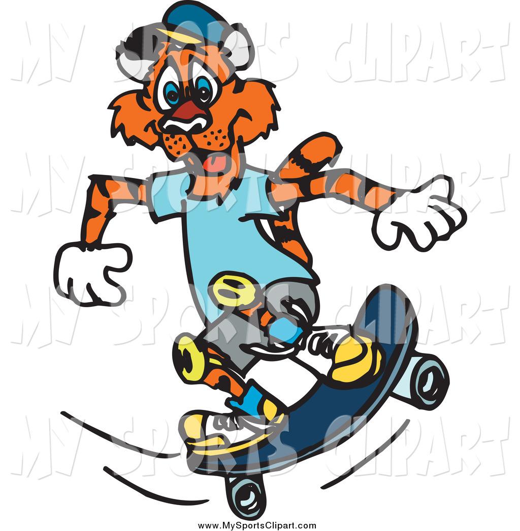 1024x1044 Sports Clip Art Of A Skateboarding Tiger By Dennis Holmes Designs