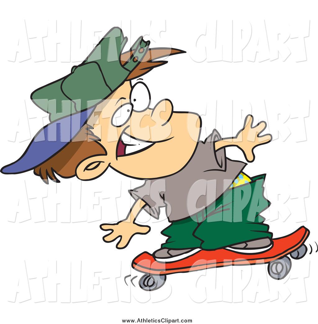 1024x1044 Clip Art Of A Cartoon White Boy Skateboarding By Toonaday