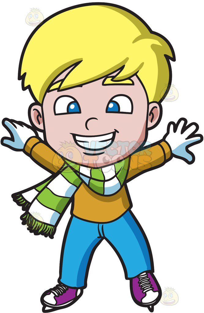 667x1024 A Confident Boy On The Ice Skating Rink Cartoon Clipart
