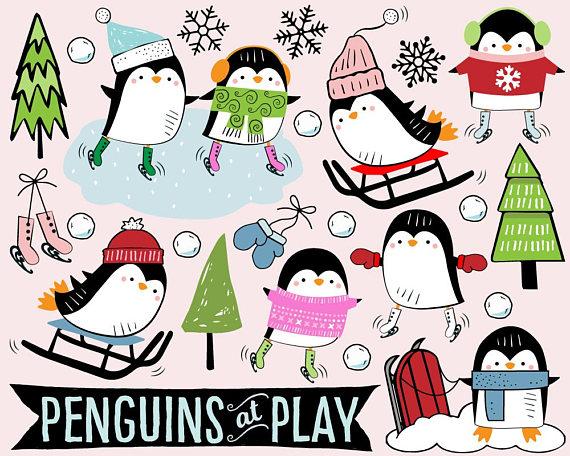 570x456 Penguin Clipart, Ice Skating Clipart, Sled Clipart, Snow Clip Art