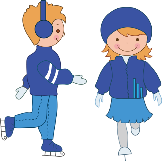 563x560 Boy And Girl Ice Skating Clipart