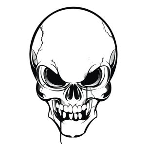 300x300 Angry Skull Clipart Image 1