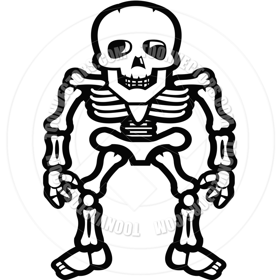 940x940 Skeleton Standing (Black And White Line Art) By Cory Thoman Toon