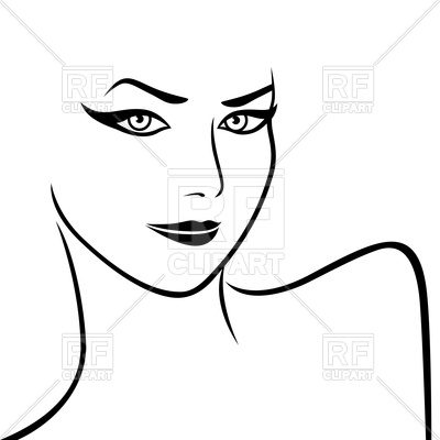 400x400 Art Sketching Of Abstract Female Face And Shoulders Royalty Free