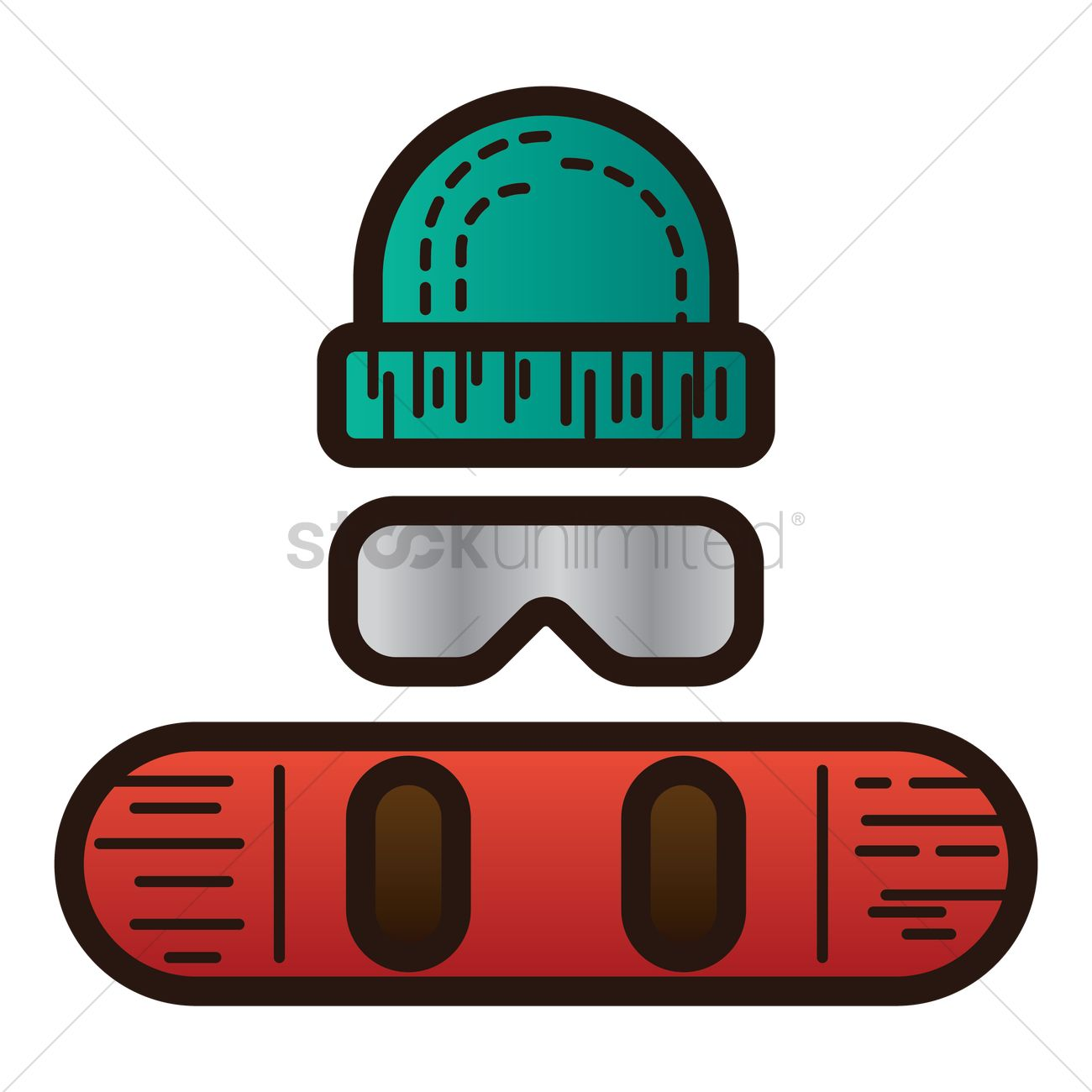 1300x1300 Snowboard, Winter Hat And Ski Mask Vector Image