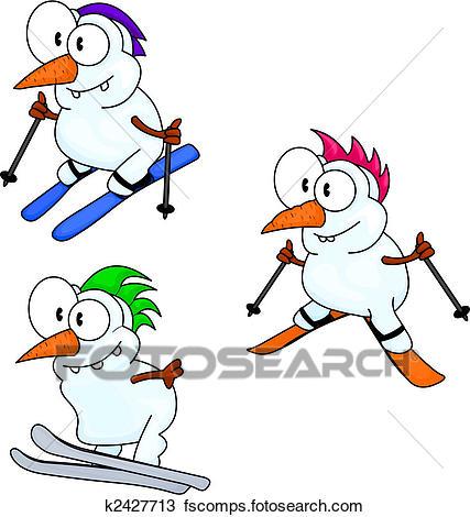 427x470 Clipart of Skiing snowmen k2427713