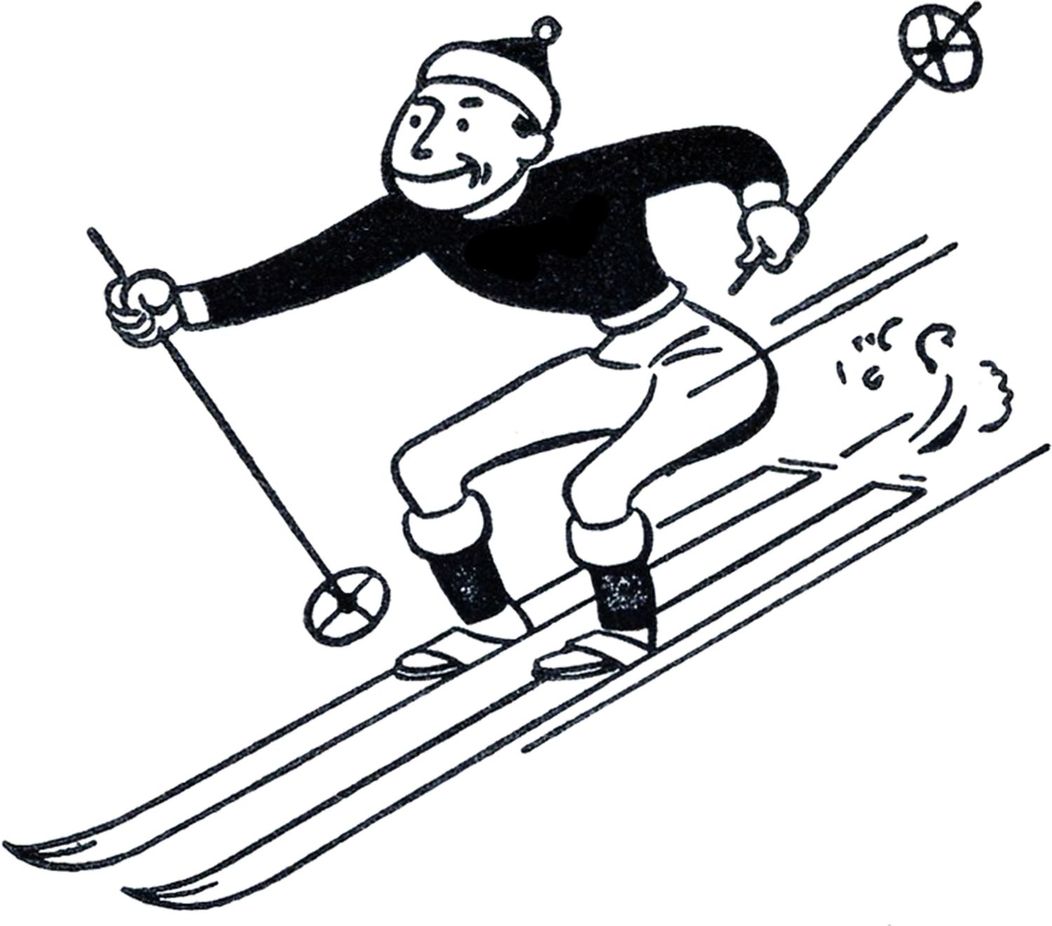 1500x1321 Funny Retro Skiing Clipart Graphics Fairy, Vintage Images