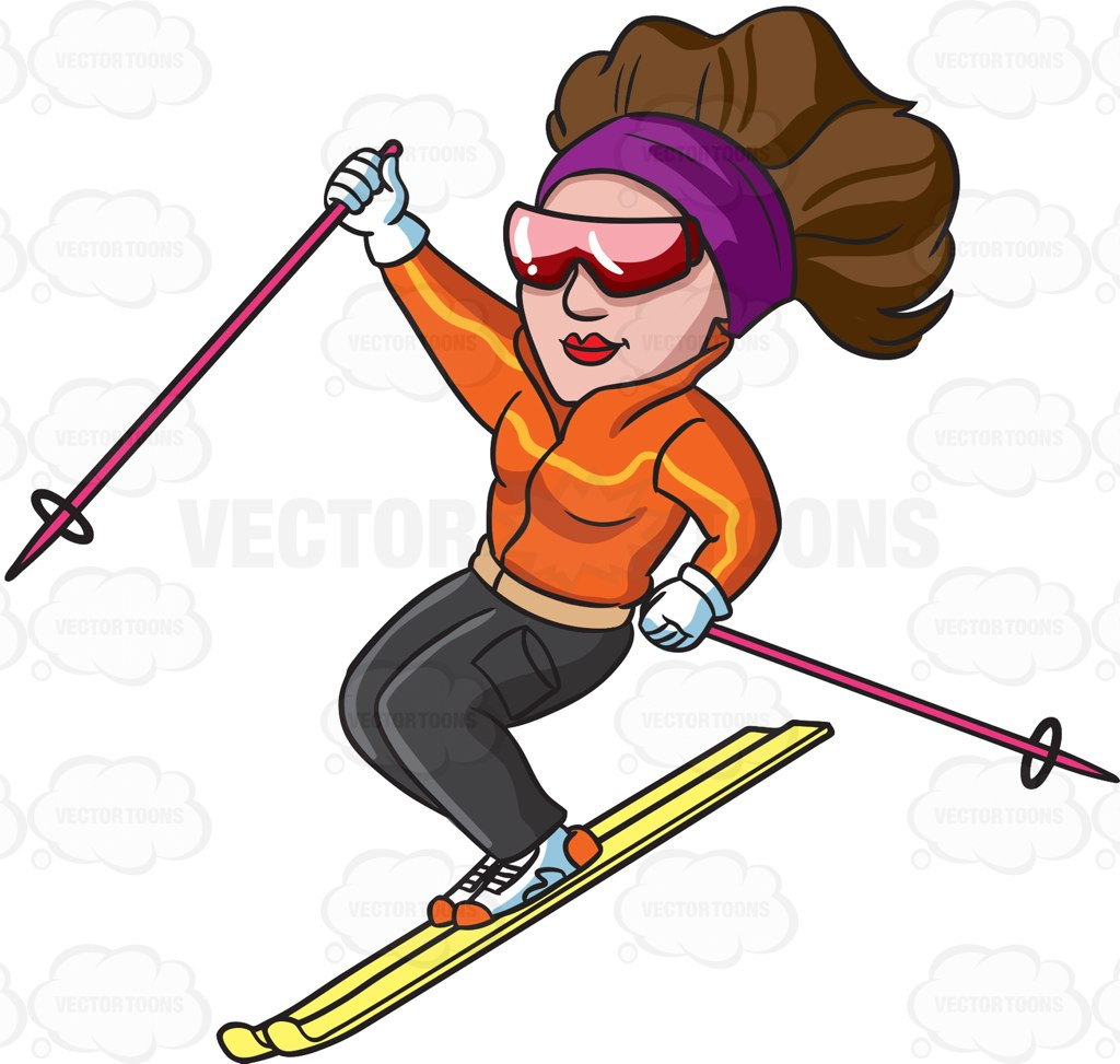 1024x973 A Female Skier Gliding Down The Slopes Clip Art