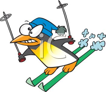 350x305 Picture Of A Penguin Snow Skiing With A Scared Face In A Vector
