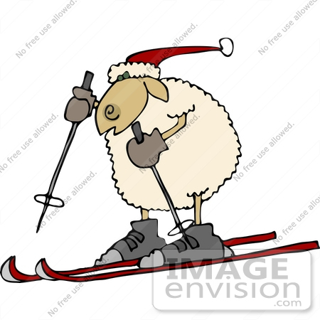 450x450 Skiing Sheep Clipart