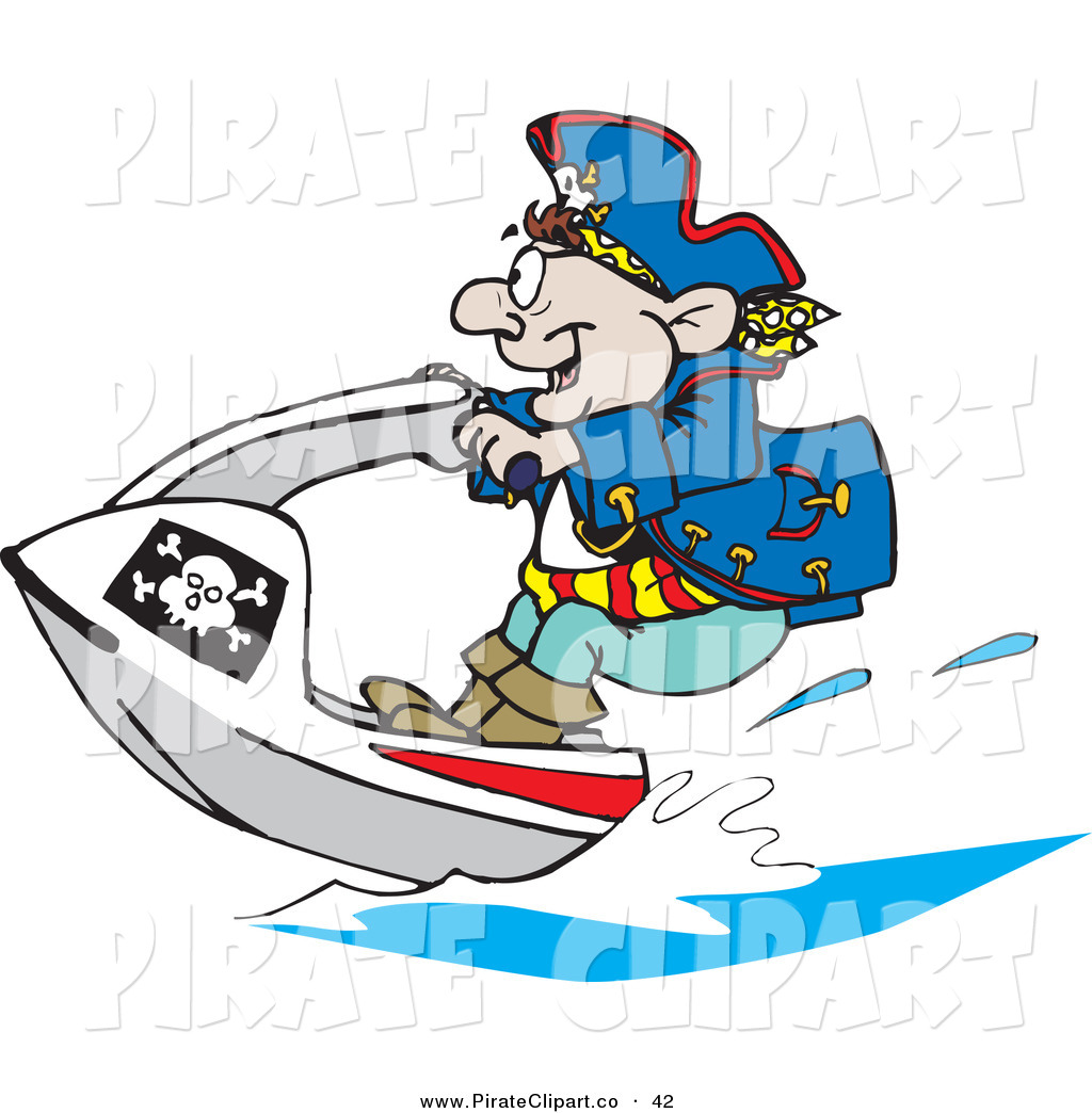 1024x1044 Vector Clip Art Of A Pirate Guy Jet Skiing To The Left By Dennis