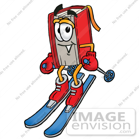 450x450 Clip Art Graphic Of A Book Cartoon Character Skiing Downhill