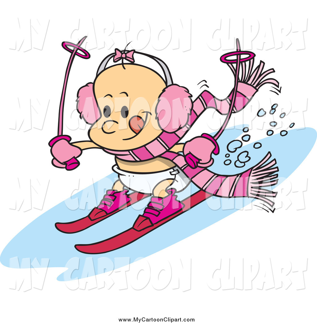 1024x1044 Clip Art Of A Cartoon White Baby Girl Skiing By Toonaday