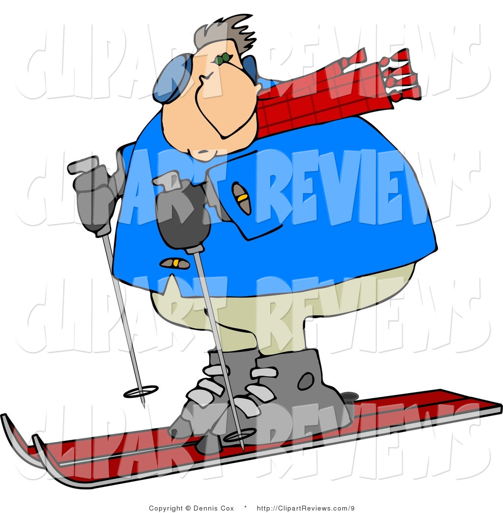 1024x1044 Clip Art Of A Heavyset Man Snow Skiing Down A Winter Ski Slope