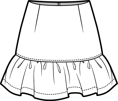 462x395 Peplum Skirt Technical Fashion Drawing Fashion