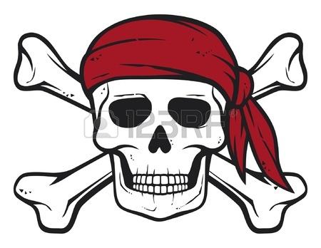 450x348 Pirate Skull, Red Bandana Bones Pirates Symbol, Skull