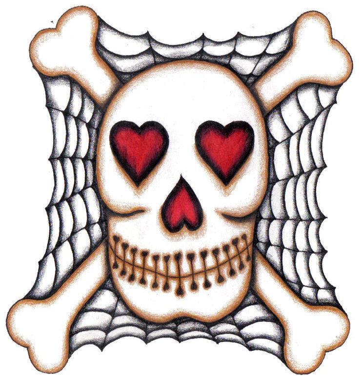 740x771 Skull And Bones With Heart Eyes Tattoo Design By Emjaybrady