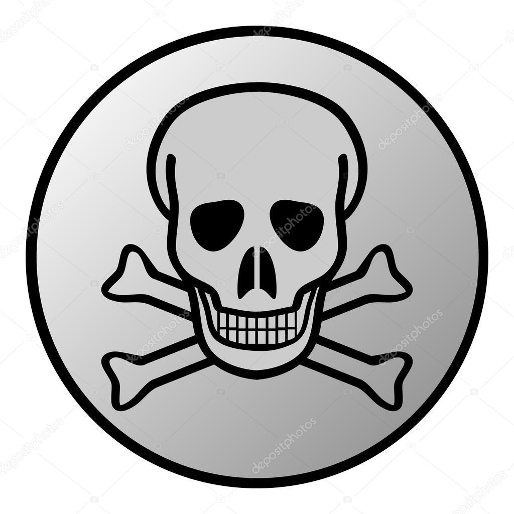 1024x1024 Skull And Bones Danger Sign Button Stock Vector Konstsem