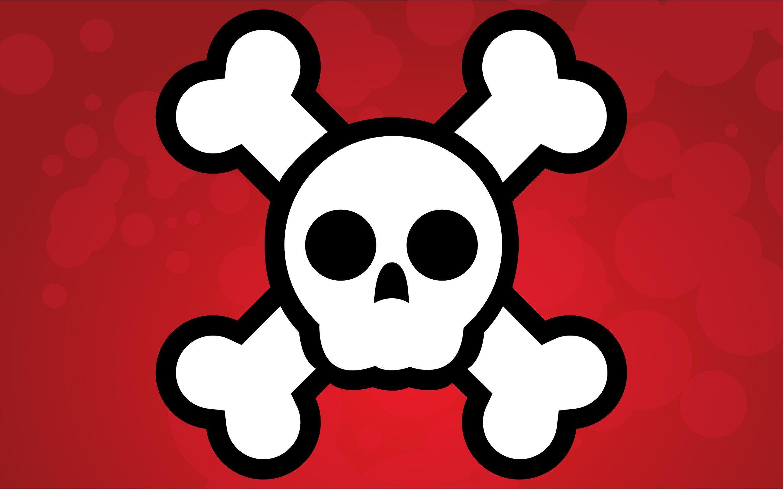 2560x1600 Skull And Bones, Vectors, Vector Art, Red Background Wallpapers Hd