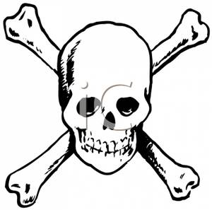 300x297 Free Clipart Image Black And White Skull And Crossbones