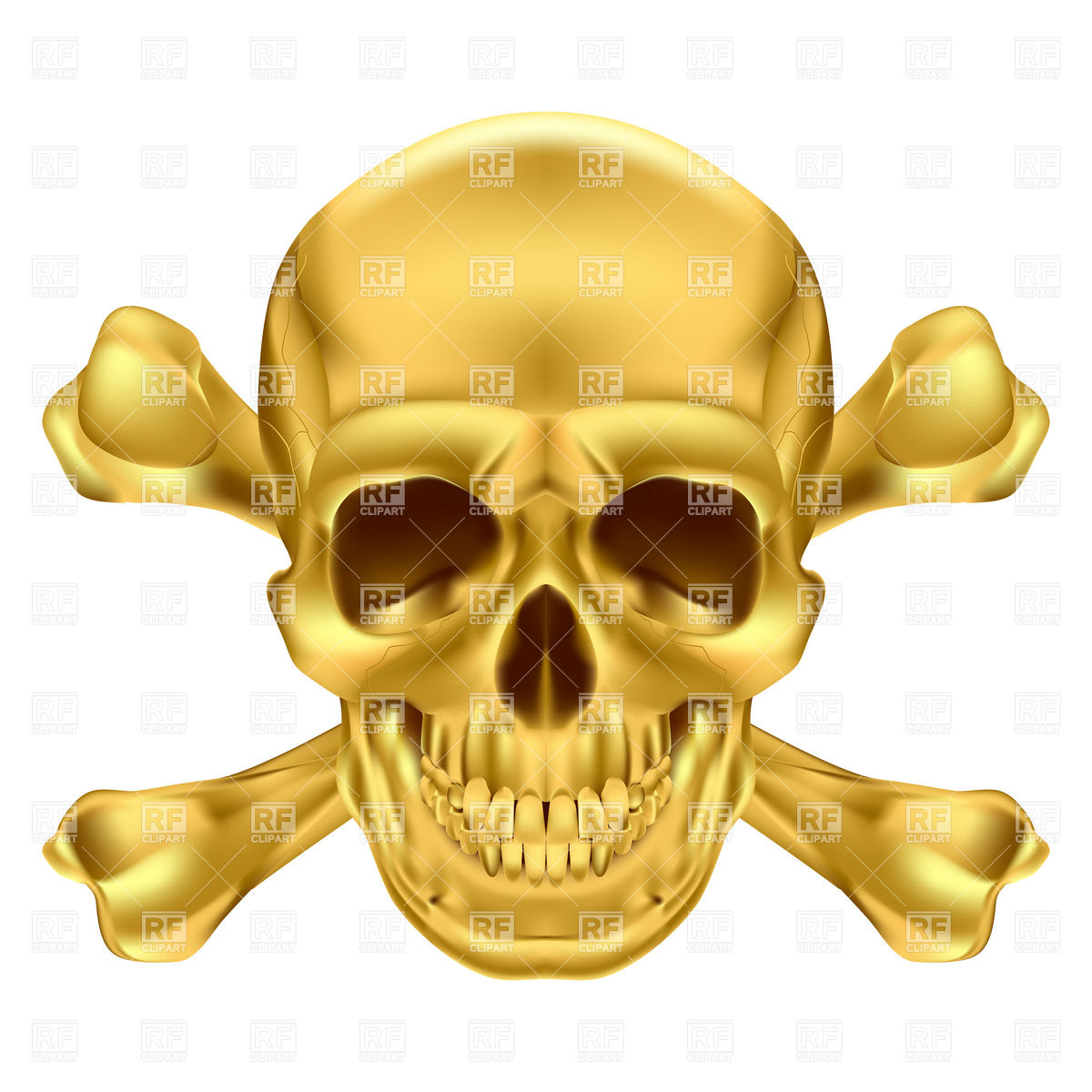 1200x1200 Golden Skull And Crossbones Royalty Free Vector Clip Art Image