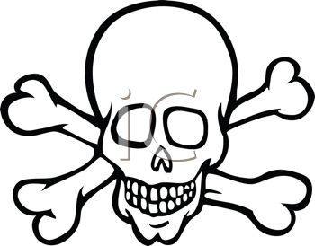 350x274 Picture Of A Cartoon Skull With Crossbones In A Vector Clip Art