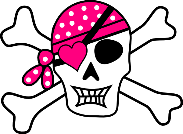 600x439 Pink Pirate Cross Bones Clip Art