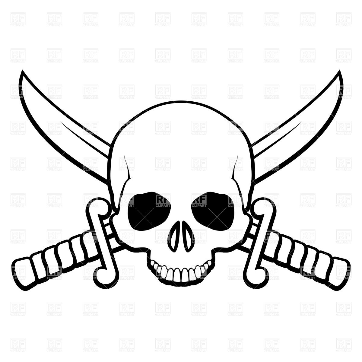 1200x1200 Skull With Crossed Sabers Royalty Free Vector Clip Art Image