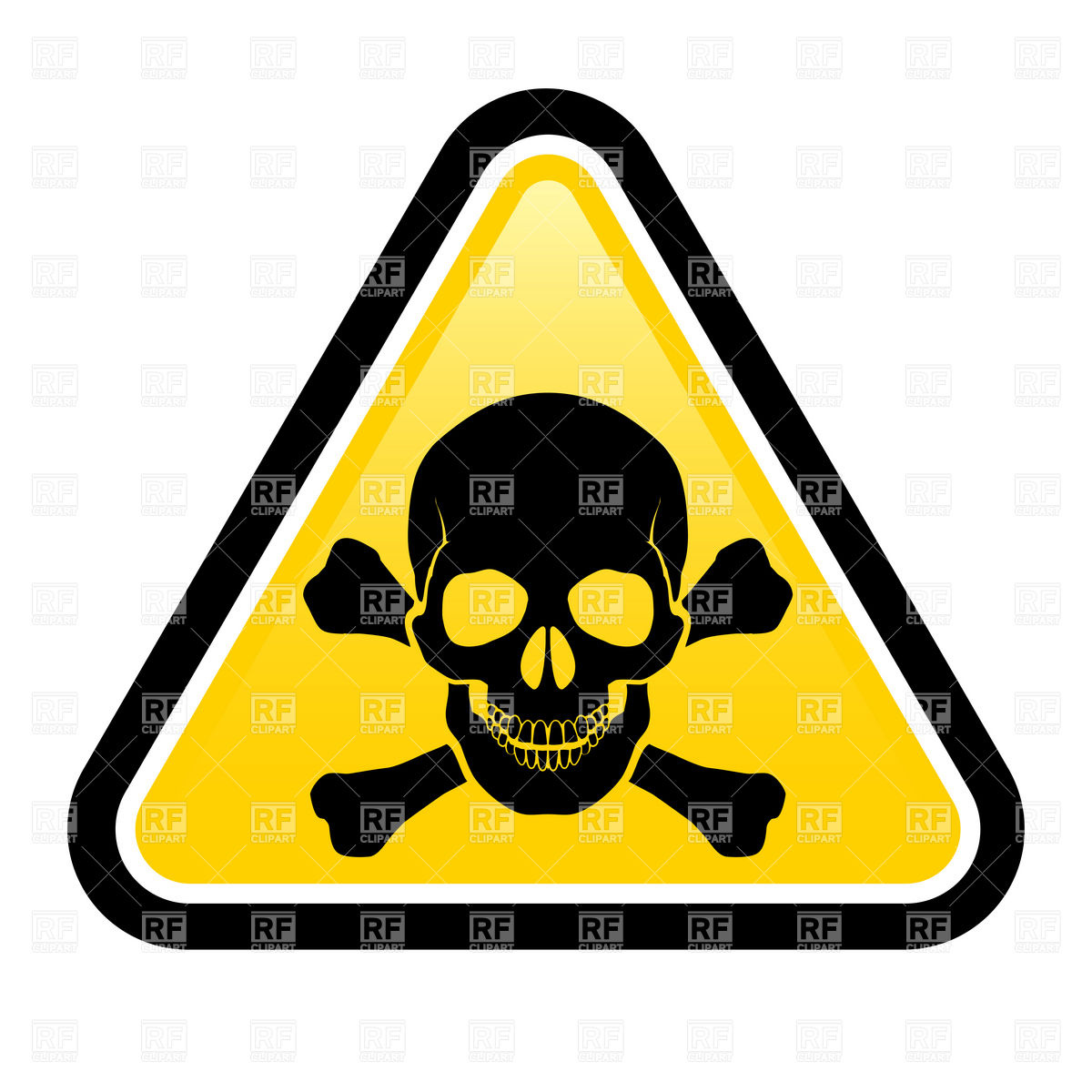 1200x1200 Triangular Danger Sign With Skull And Crossbones Royalty Free