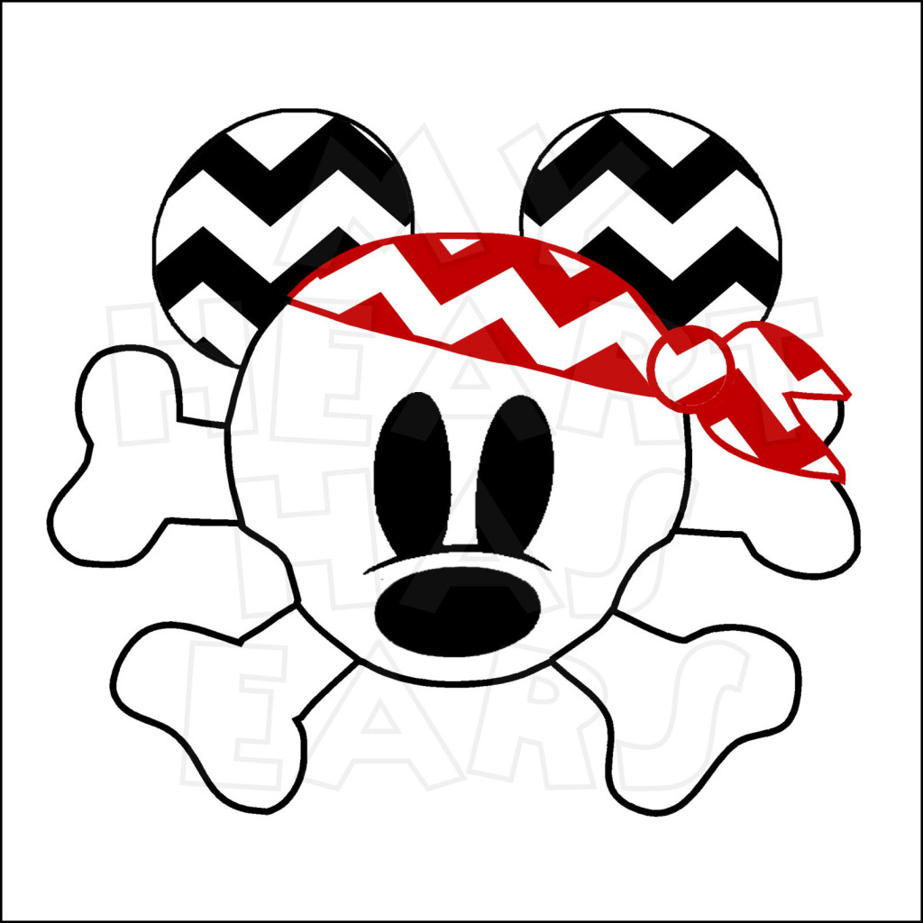 1024x1024 Chevron Mickey Crossbones Skull Pirate Head Instant Download
