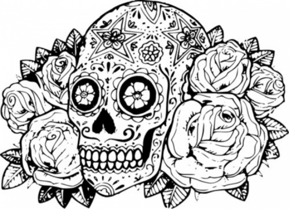 960x694 Extraordinary Sugar Skull Coloring Page 87 With Additional