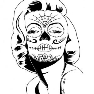 300x300 Pics Of Lady Sugar Skull Coloring Pages Day Dead Realistic Drawing