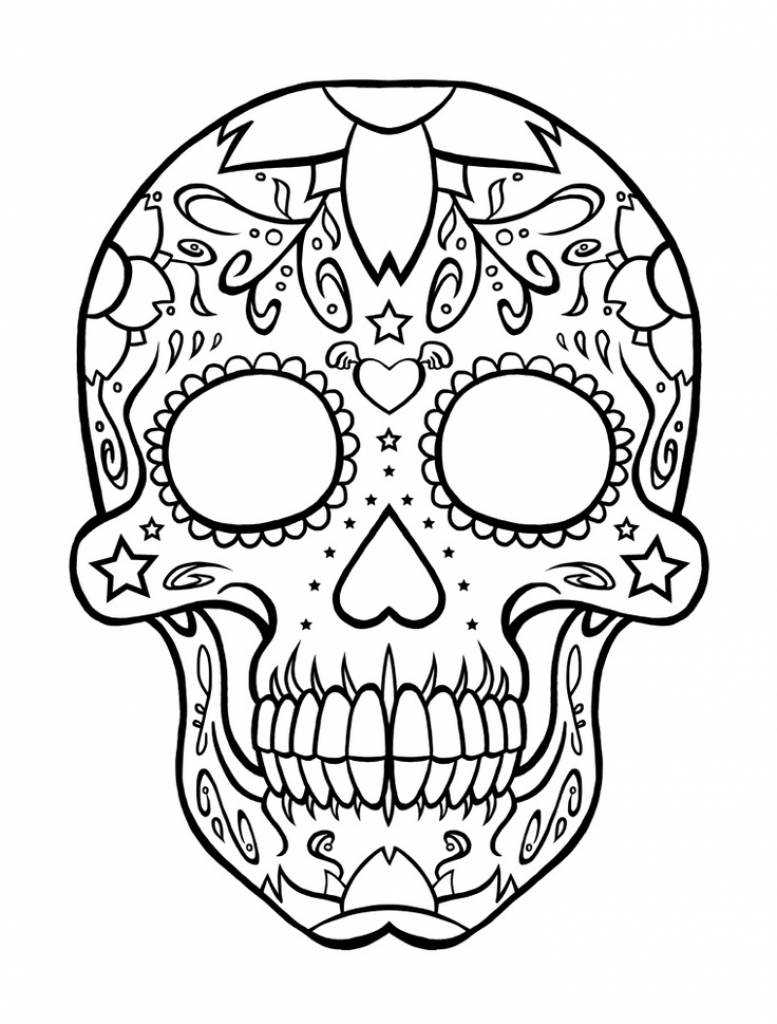 777x1024 Printable Day Of The Dead Sugar Skull Coloring Page 3 Printable