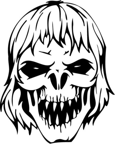 386x480 Scary Zombie Skull Coloring Page Free Printable Coloring Pages