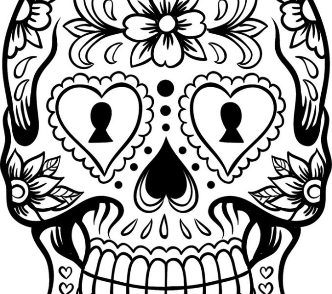 678x600 Skull Coloring Sheet Sugar Skull Coloring Page 13325