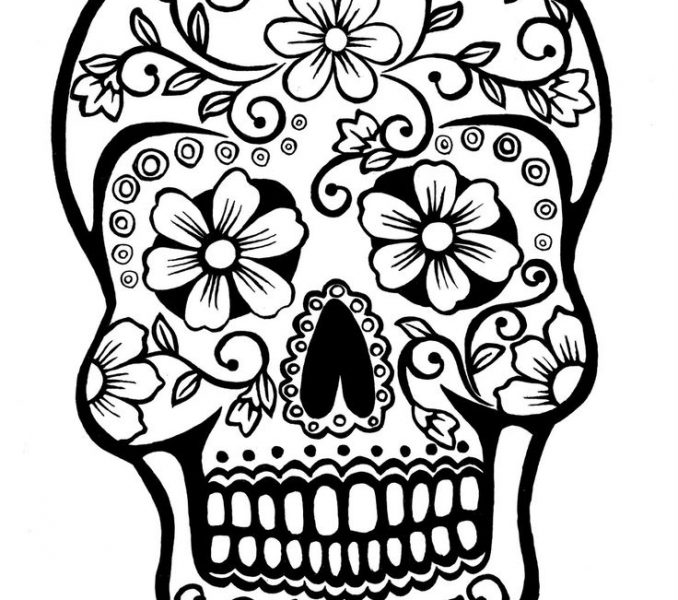 678x600 Sugar Skull Colouring Pages Coloring
