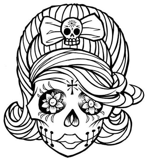 500x547 Sugar Skull Clipart Printable Coloring Page