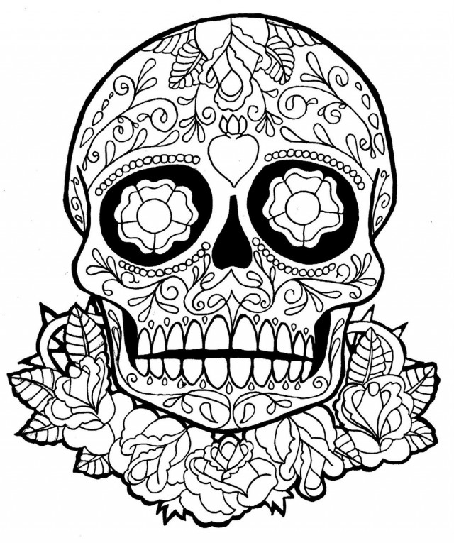 640x765 Day Of The Dead Skull Coloring Pages Murderthestout