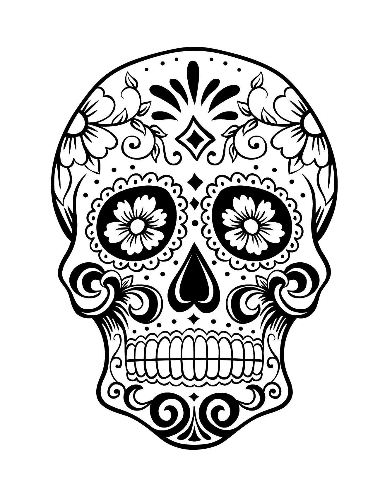 1339x1670 Day Of The Dead Skull Coloring Page 1 Because I Can