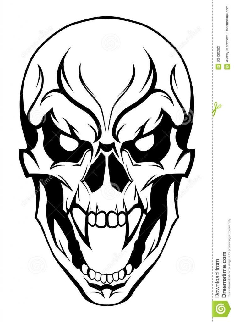 745x1024 Evil Skull Drawings