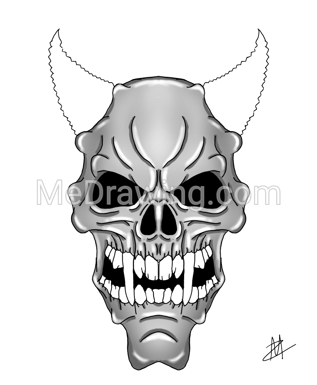 1014x1231 Purple Zombie Demon Skull Black White Drawing Black