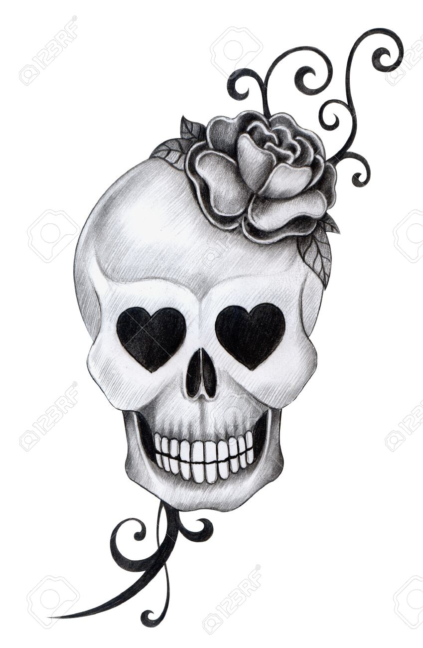 849x1300 Skull Tattoo. Hand Drawing On Paper. Stock Photo, Picture