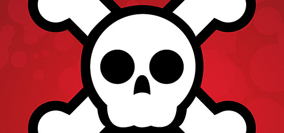 555x260 Cartoon Skull Head Skeleton Background, Cartoon, Cranial Skeleton