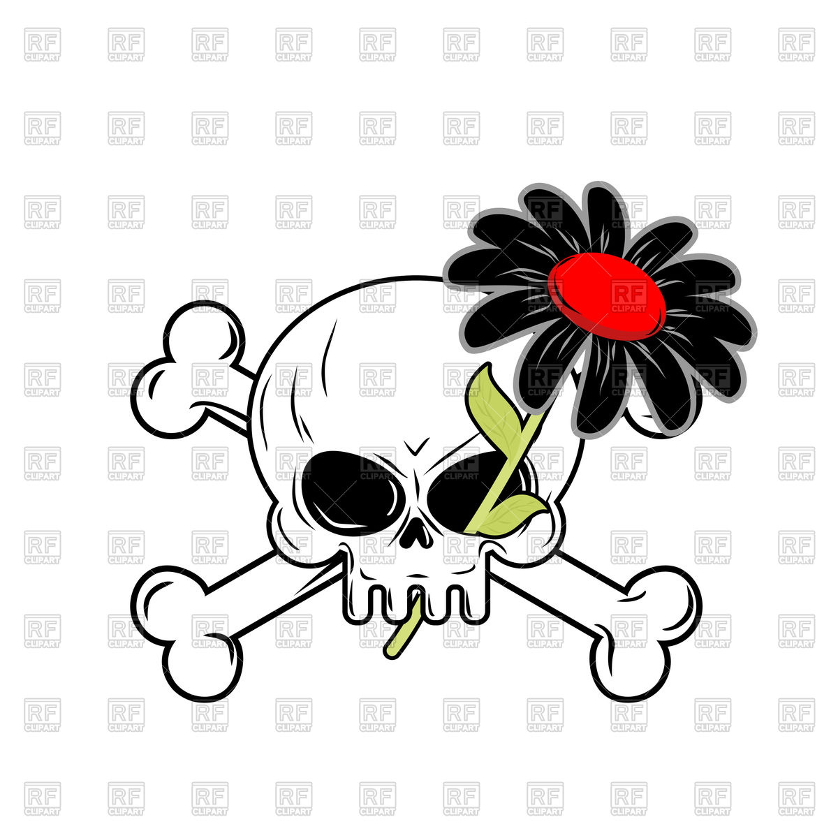 1200x1200 Black Flower Of Death And Skull Royalty Free Vector Clip Art Image