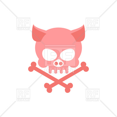400x400 Pig Skull With Bones Royalty Free Vector Clip Art Image