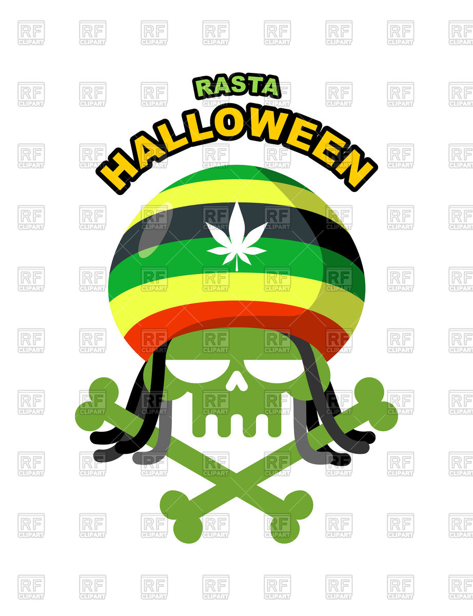 922x1200 Rasta Halloween Night. Skull Addict With Dreadlocks Royalty Free